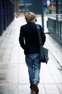 boy leaving