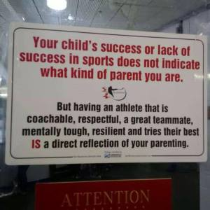 Sign at a youth hockey game.
